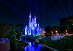 The  Blue Castle (mwjw) Tags: magickingdom disney disneyworld orlando florida night nightshot longexposure mwjw markwalter nikond850 rokinon12mm castle