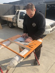 Jono cutting Alucobond to use as gague holder (andrew edgar .......) Tags: mazda rx4 rotary brap zoom car sedan purple blacktown sydney