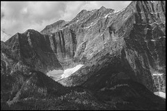 The Cirque (greenschist) Tags: trees forest alberta mountains blackwhite canada glacier cirque jaspernationalpark clouds