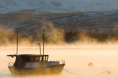 Fishing boat at dawn, with a touch of fog... (PatriciaGabrielle) Tags: norway boat fog sunrise