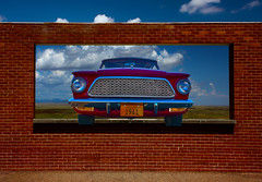 The American (oybay©) Tags: 61 1960s 60s rambler american convertible amc 2nd second generation series red photo gleaming chrome grill grille wheels mag alloy tyre tire shadow sun williams arizona az road trip usa route 66 parked dirt motel 1961 historic pentax k100d vehicle car outdoo