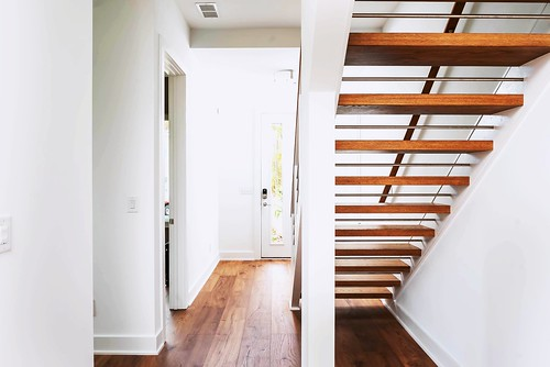 Modern staircase with open risers