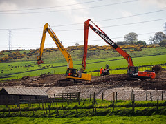 Synchronised. (HivizPhotography) Tags: komatsu pc360lc hitachi zaxis 350lc excavator tracked plant hire digger scotland rail project construction heavy earthmoving equipment uk long reach