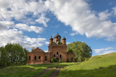 Abandoned Church. (Oleg.A) Tags: grass spring penzaregion russia church nature hill orange summer tree orthodox roof style cross wall village saintmichaelthearchangelchurch ruined shadow landscape old brick outdoor rural evening light exterior colorful destroyed ancient building dome sunny architecture green skyscape belogorka sun countryside field