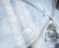 Inverted Sun (Wormsmeat) Tags: riga latvia snow lamppost bikes bikers red trees sun rays cold narnia olympus penf 12100mzuikopro