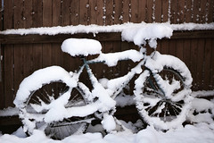Out of context (périple) Tags: bike nice old fence memories fakefilm wheels alive expression freedom snow