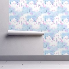 April Showers Raindrops Wallpaper (whitepineneedle) Tags: tulips pink clouds white sky blue raindrops wallpaper fabric watercolor
