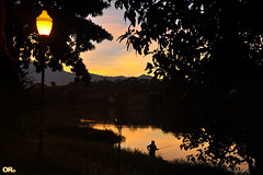 Fishing at sunset I (Otacílio Rodrigues) Tags: pescadora fisherwoman rio river água water reflexos reflections árvores trees silhuetas silhouettes montanha mountain natureza nature poste lamppost luz light urban resende brasil oro pôrdosol sunset
