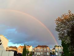 Rainbow this evening (angelinas) Tags: rainbow sky montreal quebec ciel skyline cielo nature arcenciels skypics naturaleza trees houses