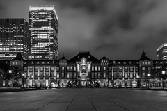 Tokyo Station Black and White (separatesunsets) Tags: 21stmay2019 asia downpour holiday2019 japan may2019 rainy tokyo tourist warm