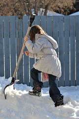 Playing with the Shovel (VeganVixen (Mel Mel)) Tags: person people vegan kid child cute adorable outside outdoor winter snow play playing shovel climb hill