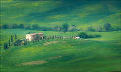 The Green Fields of Tuscany (kate willmer) Tags: green house trees grass field valley peinza tuscany italy