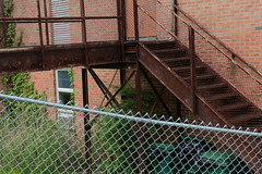 sans titre (Paul Comstock) Tags: 4may2019 may 2019 spring kingston newyork rondout therondout saturday chainlink fence metalstairs brick garbagecan