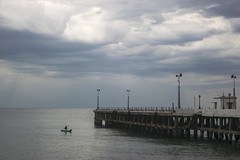Pondicherry (Debatra) Tags: pondicherry puducherry india southindia tamilnadu tamil sea pier boat clouds overcast water bayofbengal sky skyporn