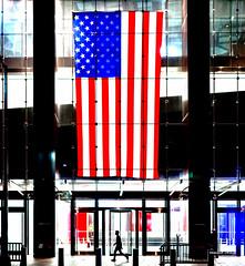 The New Yorkers - Around Ground Zero (François Escriva) Tags: street streetphotography us usa nyc ny new york candid olympus omd photo rue light man sidewalk manhattan silhouette shadow flag proud building world trade center 3 three night stars stripes