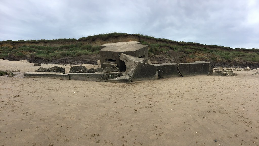 Fraisthorpe beach. Collapsed pill box