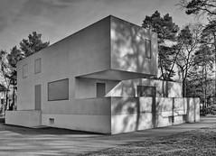 100 Jahre Bauhaus: Meisterhaus Walter Gropius in Dessau (Roland Mantke) Tags: dessau gropius bauhausstil olympus architektur kunst sw bw