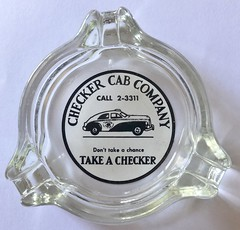 CHECKER CAB COMPANY (ussiwojima) Tags: checkercabcompany cab taxi taxicab glass advertising ashtray