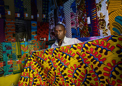 African seller with colorful african fabrics in a shop, Comoé, Abengourou, Ivory Coast (Eric Lafforgue) Tags: abengourou adults adultsonly africa africanculture africanethnicity africanfabric citylife colourimage comoé côtedivoire cultures developingcountries horizontal indoors ivorycoast ivory2412 lifestyles marketretailspace marketstall men merchandise oneadultonly onemanonly oneperson photography selling shop socialissues store streetmarket traveldestinations vendor wax westafrica