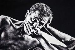 Requiem for humanity (détail) (Gerard Hermand) Tags: 1905208620 gerardhermand france paris canon eos5dmarkii canalsaintdenis iyola streetart detail mur wall homme man danse dance noiretblanc blackandwhite