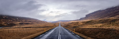 Open Road, Iceland (Brady Baker) Tags: iceland europe travel road highway open long perspective symmetrty grass mountain sky cloud dreary grey dramatic mist empty desolate wide panorama outdoor adventure journey unknown forward path landscape pavement drive abandoned