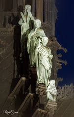 Miraculously saved! (marko.erman) Tags: notredame cathedral paris church spire sculptures twelveaposles evangelist iledelacité france unesco worldheritagesite gothic nightshot