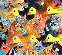 Grimes Patty dogs cats & ducks (hanks students artwork) Tags: hpsc 2019 watercolor advanced tessellation