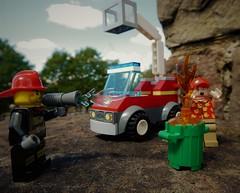 Fire! (penelopephotoshop) Tags: lego legofigures fireman firetruck garbagebin fire legoaccessories legooutdoors legovehicles