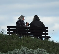 Sorry, No.. Still can't see anything.. ?? (Gilli8888) Tags: nikon p900 coolpix newbigginbythesea newbiggin northumberland coast coastal seaside bench seat people two binoculars