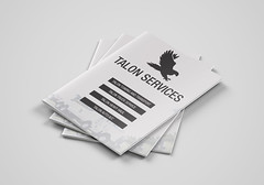 Taloon Services Bi-Fold Brochure PSD Template Cover Page (Mitchell2901) Tags: taloon service brochure template black white one color bird eagle