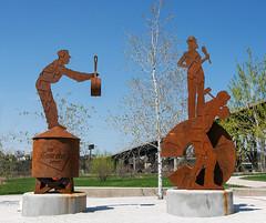 The Two Sculptures (eddee) Tags: hankaaronstatetrail trail milwaukee wisconsin dnr sculpture publicsculpture