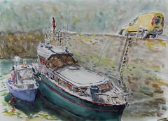 Dans le port de Brigneau (christian angué) Tags: port mer bateau finistere bretagne aquarelle nautique croquis usk quai cale