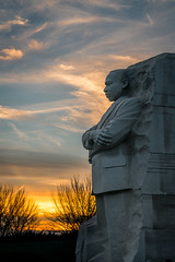 Sunset on Doctor King's Statue (John Brighenti) Tags: washington dc districtofcolumbia nationalmall memorials architecture evening night dusk february outside outdoors urban city capital sky clouds sony alpha a7rii ilce7rm2 nex emount femount memorial statue marble stone sunset sel70200gm