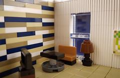 Tiny Room MOC. Sofa, lamp, table, carpet and TV bench. (betweenbrickwalls) Tags: lego afol moc furniture design interiordesign