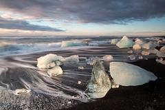 Morning Icebergs (Sophie Carr Photography) Tags: iceland jokulsarlon icebergs goldenhour blacksand