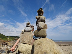 Balancing act (stevenbrandist) Tags: rocks beach summer holiday 2018 caytonbay yorkshire sky scarborough