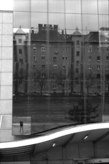 That's me in the corner (lumpy79) Tags: praktica mtl5 helios44m 258 ilford hp5 400 1600 thatsmeinthecorner budapest duna pláza feketefehér blackandwhite bw reflection self portrait windows