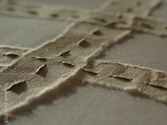 Textural background (detail) (Landanna) Tags: embroidery embroideryonpaper broderi broderipåpapir borduren bordurenoppapier runningstitch paperart paperwork paper papier papir handmade handgemaakt handwerk håndlavet artjournal journal sketchbook ledger