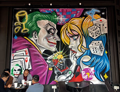Joker and Harley Quinn (cowyeow) Tags: streetart asia asian guangdong guangzhou china funnychina urban city composition wall dc dccomics joker gangster gangsters gambling street bar pub restaurant color harleyquinn grenade dice comics comicbook superhero villain