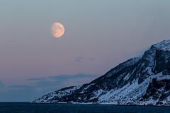 Arctic Moonset (astronut2007) Tags: moon mountains arcticcircle norway vikingsky alta beltofvenus snow