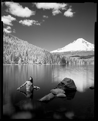 Emerging 190507 (jimhairphoto) Tags: mthood trillium lake landscape america nw northwest leftcoast oregon remainsoftheday naturalworld 4x5project crown speedgraphic camera mfg1963 purchasedat bluemooncamera andmachine 4x5 rollei infrared film blackandwhite blancetnoir schwarzeweiss blancoynegro blancinegre siyahrebeyaz jimhairphoto