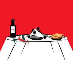 illustration of a simple meal (illustrationvintage) Tags: meal simple fresh illustration symbol dinner nutrition eat diet vegetarian eating kitchen object cuisine menu ingredient snack restaurant lunch healthy food martini wine glass bread plate table red pub minimalism fish