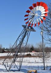 Installation of windmill that Olivia painted (Pictures by Ann) Tags: windmill painted olivia paintingproject firstjob job patriotic redwhiteandblue red white blue bluesky install installation raiseawindmill liftwindmill farm country rural minnesota mn art creativeexpression