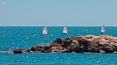 Trio (lauracastillo5) Tags: trio seascape sea seashore ocean ships boats blue beach sky landscape outdoors sports rocks summer spring morning