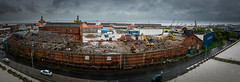 Demolition (Mister Electron) Tags: eastyorkshire hull humberside nikond800 factory rooftop demolition panoramic stitched wideangle