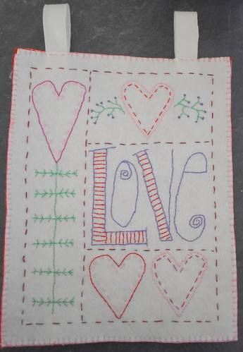 Valentine's Day Embroidered Wall Hanging