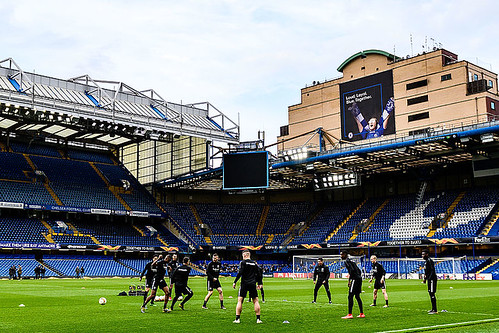 Eintracht Frankfurt players training at Stamford Bridge