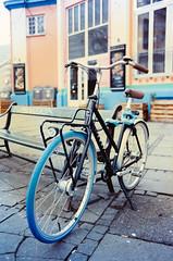 Blue Tired Bike (JamieDieu) Tags: nikon fa 400 35mm f25 ultramax series e bike