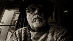 lunch in the pub (Neil. Moralee) Tags: neilmoralee man face portrait selfy selfie sepia phone sony xperia z5 pub uk england britain lpov neil moralee black white dark toned