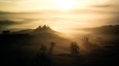 Belvedere (Fabrizio Massetti) Tags: valdorcia landscape landscapes light tuscany toscana tree twilight tramonto sunrise sun sunlight sunset sanquirico siena fabriziomassetti famasse red rural iq180 rodenstock phaseone pienza panorami fog clouds color